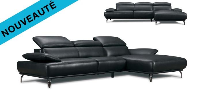 Canapé cuir d'angle Burley base cuir