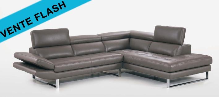 Canapé cuir d'angle Lugano