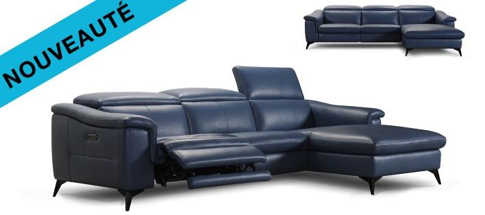 Canapé cuir d'angle relax Memphis