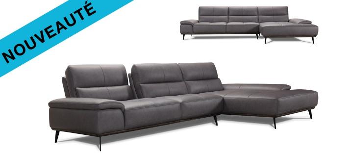 Canapé cuir d'angle Velsa