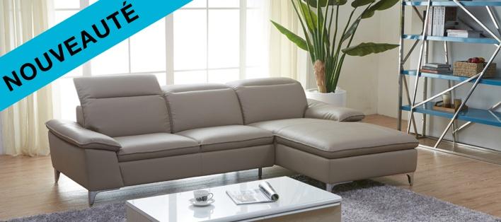 Canapé cuir d'angle Moovy