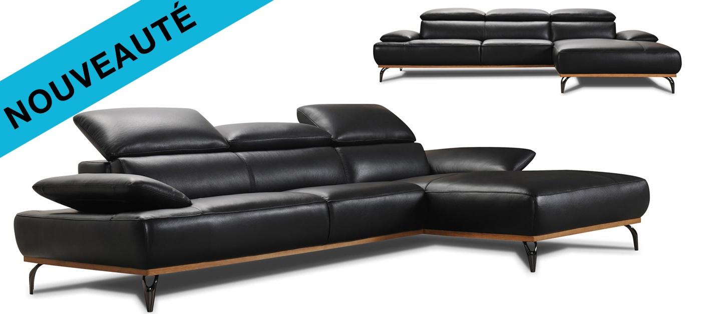 Changer La Couleur D Un Canapé En Cuir canapé cuir d'angle burley base bois