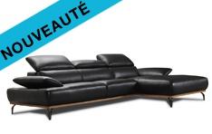 Canapé cuir d'angle Burley base bois