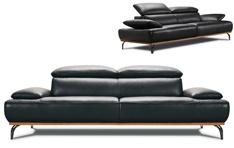 Canapé cuir Burley base bois