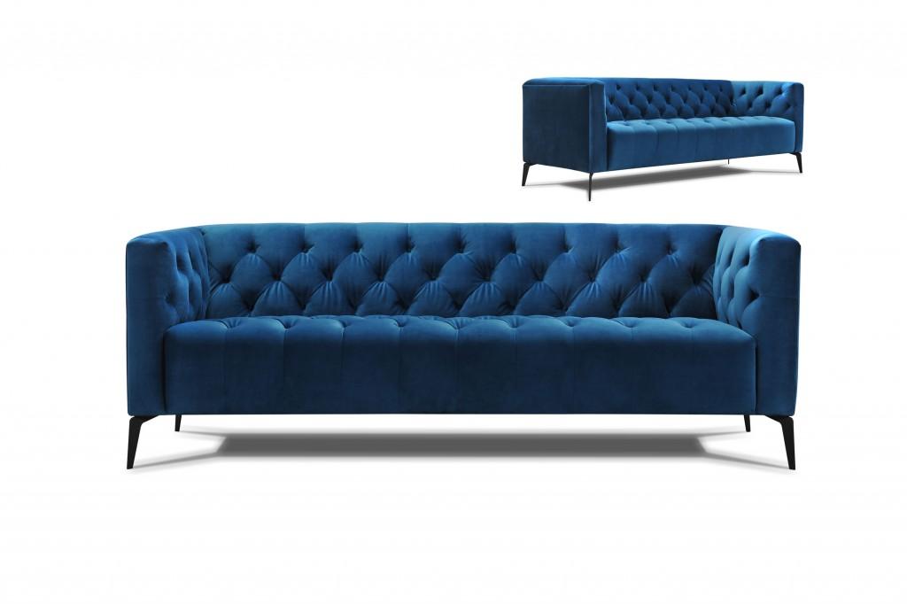 canapé chesterfield tissu bleu