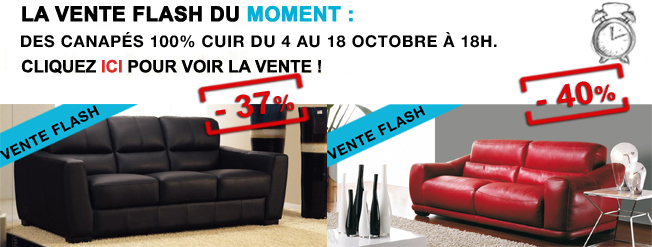 vente flash exceptionnelle 36 et 40 sur 2 canap s cuir canap show. Black Bedroom Furniture Sets. Home Design Ideas