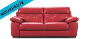 nouveau canapé cuir bulgar rouge