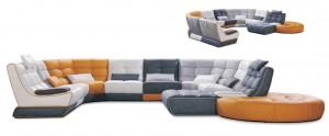 canapé en cuir et tissu modulable