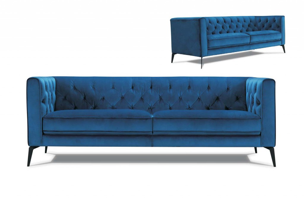 canapé tissu bleu