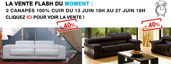 la vente flash de la semaine 2 canap s cuir 37 et 40 canap show. Black Bedroom Furniture Sets. Home Design Ideas